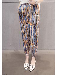Реальный выстрел женский гарем брюки летний приток цветок брюки колготки женщины свободные шифон случайные брюки тонкий раздел