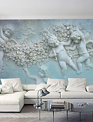 Art Deco 3D Wallpaper For Home Contemporary Wall Covering  Canvas Material Adhesive required Mural White Relief Angel Clouds XXXL(448*280cm)