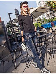 assinarem novos modelos primavera denim calças harem pants femininos solta calças colapso calças perna significativamente finos bordados