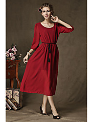 New large size dress side slit sleeve loose dress Specials