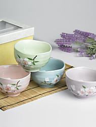 высокое качество японской сливы цветок разработан керамический обеденный Боул Dinnerware один комплект с четырьмя цветами