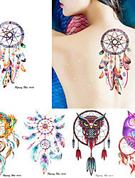 5 Pieces Dreamcatcher Owl Pattern Temporary Arm Leg Back Shoulder Body Art Decal Tattoo Sticker for Unisex