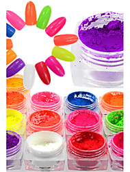 1 Bottle Colorful Neon Effect Nail Art Neon Pigment Power Beautiful Nail Fluorescent Glitter Power Nail Beauty Design Nail DIY Decoration YE01-13