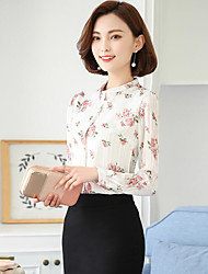 Women's Going out Vintage Blouse,Floral Stand Long Sleeve Others
