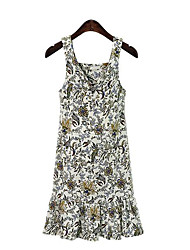 Europe 2017 new fat mm ladies printing harness dress