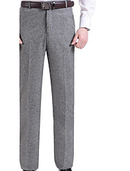 Men's Mid Rise Micro-elastic Business Pants,Simple Slim Solid
