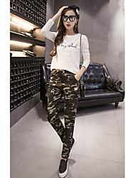 Signer le cordon élastique de cordon de laçage badge camouflage harem pantalons femmes pantalons décontractés pieds