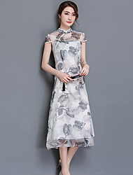 Women's Going out Simple A Line Dress,Print Stand Midi Short Sleeve Polyester Spring Summer Mid Rise Inelastic Medium