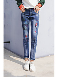 Sign painted jeans fashion new fashion personality Slim was thin jeans female labeling