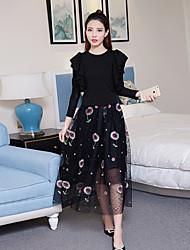 Sinal 2017 novo babados top + pesado tricô colete bordado gaze vestido saia de duas peças