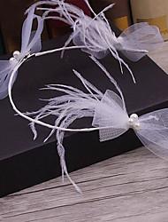 Imitação de penas de nó de pérolas cabeça-casamento ocasião especial casuais headbands ao ar livre 1 peça