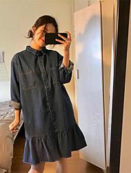 Sign flounced fishtail new loose long-sleeved denim shirt dress