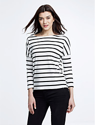 Women's Spring New Striped Round Long Sleeve Loose T-shirt