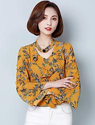 Damen Blumen Einfach Lässig/Alltäglich T-shirt,V-Ausschnitt Langarm Polyester