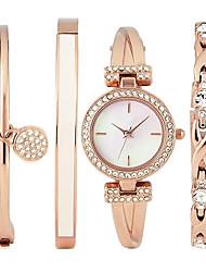 Luxury Ladies Watch Dress Watch Fashion women Watch Wristwatches Bracelet Watch Set Quartz Imitation Diamond Bohemian Charm Bangle(4pcs/set)