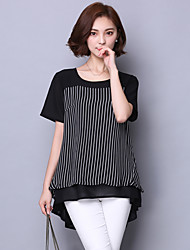 Women's Formal Simple Blouse,Striped Round Neck Short Sleeve Cotton