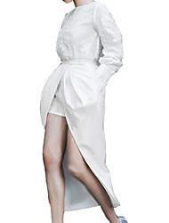 реальный выстрел в Европе и Америке 2017 весной новые жаккардовый воротник с длинными рукавами футболки + поддельная два платья костюм