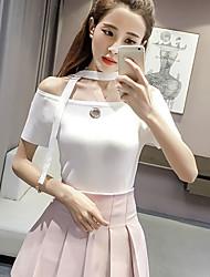Tee-shirt Femme,Couleur Pleine Décontracté / Quotidien Mignon Printemps Eté Manches Courtes Col Arrondi Spandex Moyen