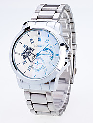 Men's  Dazzle Colour Blu-Ray Copy Machine Gear Iridescence Business Code Three Steel Belt Geneva Quartz Watch