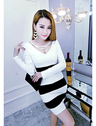 Sign Autumn striped long-sleeved Korean version was thin waist sexy package hip long sections Slim V-neck dress