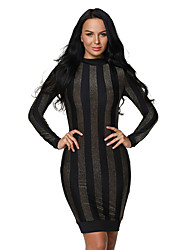 Women's Gold Black Stripes Mock Neck Long Dress