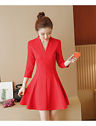 Sign Spring Korean version of the new fashion temperament Slim long section of a woman in red dress type a word skirt