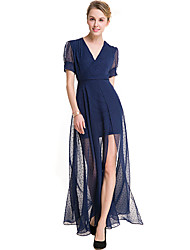 Women's Going out Sexy A Line Dress,Solid V Neck Mini Short Sleeve Rayon Summer High Rise Inelastic Thin