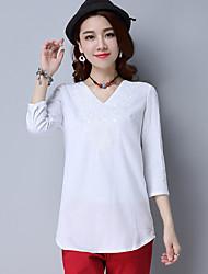 Sen 2017 spring new leisure wild jacket sleeve V-neck three-dimensional embroidered linen shirt female