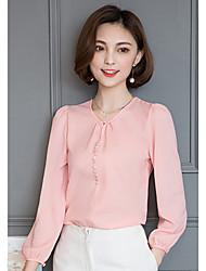 Реальный выстрел женский с длинными рукавами шифона рубашка 2017 весной новой корейской версии рубашки шею рубашку шифон рубашку
