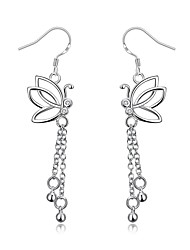 Exquisite Silver Plated Clear Crystal Butterfly Drop Earrings for Wedding Party Women Jewelry Accessiories