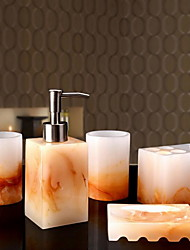 Jade Bathroom Accessory Set of 5 Objects Resin /Contemporary