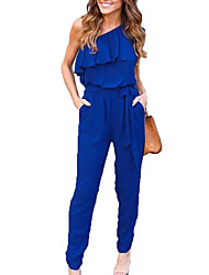 Women's Mid Rise Work Holiday Jumpsuits,Simple Sexy Slim Solid