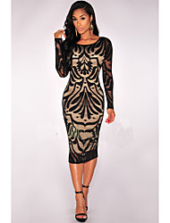 Women's Going out Club A Line Dress,Animal Print Round Neck Midi Long Sleeve Others Spring Summer Mid Rise Micro-elastic Medium