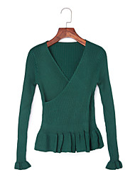 Women's Ruffle Casual/Daily Simple Regular PulloverSolid V Neck Long Sleeve Polyester Fall / Winter Medium