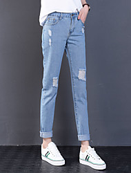 Sign spot 2017 spring new Korean women loose trousers feet hole jeans HO5224 Yuan