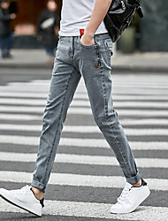 7 summer stretch jeans male version of Slim pants feet pants influx of young students Men
