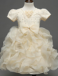 Ball Gown Knee-length Flower Girl Dress - Cotton Organza Satin Tulle Short Sleeve V-neck withBow(s) Embroidery Pearl Detailing Sash /