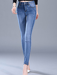 Women's Slim Jeans Pants,Casual/Daily Simple Solid High Rise Button Cotton Inelastic Spring