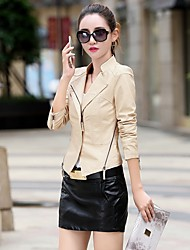 Women's Casual/Daily Street chic Spring Fall Leather Jacket,Solid Stand Long Sleeve Regular Lambskin