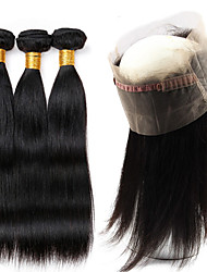 Visteen Hair Malaysian Straight 3 Bundles With 360 Lace Closure Natural Color Hair Weave Bundles Unprocessed Human Hair Tangle and Shedding Free