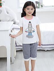 Unisex Casual/Daily Geometric Sets,Cotton Summer Clothing Set