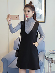 V-neck strap dress with high collar knit sweater dress two-piece woolen