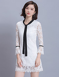 Women's Casual/Daily Lace Tunic Dress,Solid Crew Neck Above Knee Long Sleeve Cotton Summer Mid Rise Micro-elastic Thin