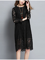 Going out Holiday Plus Size Sexy Vintage Simple Loose Lace Dress,Solid Jacquard Round Neck Knee-length Long Sleeve Polyester SpringHigh