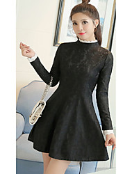 Sign Spring new Korean version of Slim thin lace collar lace dress female backing