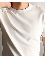 Men's Beach Simple Shirt,Solid Round Neck Short Sleeve Others