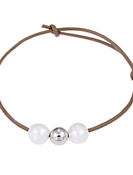 Lureme Cultured Freshwater Pearl Khaki Adjustable Leather Bracelet Handmade Pearls Jewelry
