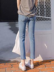 Spot real shot! Spring fashion line! Beggar hole nine curling waist jeans female student influx