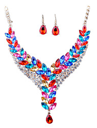 Europe All-Match Diamond Necklace Earrings Pierced The Bride Suit Temperament