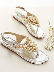 Feminino-Sandálias-Conforto-Rasteiro-Dourado Prata-Outras Peles de Animais-Casual